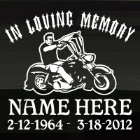Chopper Motorcycle In Loving Memory Decal Image