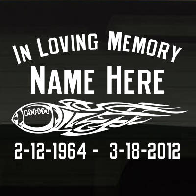 FootballTribalFlame_1VHMK In Loving Memory Decal Main Image