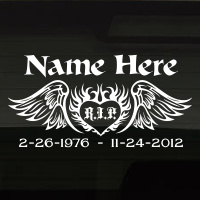 Heart Flames R I P In Loving Memory Decal Image