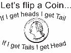 Flip Coin Heads Tails Decal