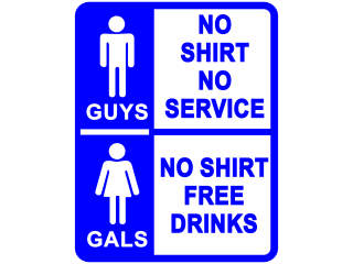 No Shirt Free Drinks Bathroom Decal Proportional