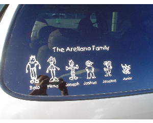 family sticker on window