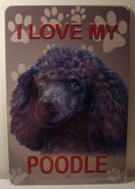 I Love My Silver Poodle Dog car plate graphic