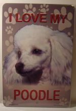 I  Love My White Poodle Dog car plate graphic