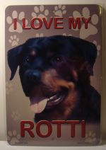 I Love My Rotti Dog Rottweiler  Puppy car plate graphic