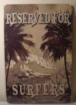 Reserved For Surfers Waves Palms Fun car plate graphic